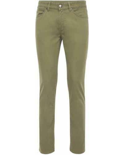 Хлопковые зеленые джинсы стрейч Pantaloni Torino