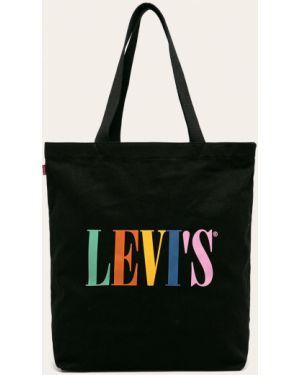 Czarna torebka bawełniana z printem Levi's