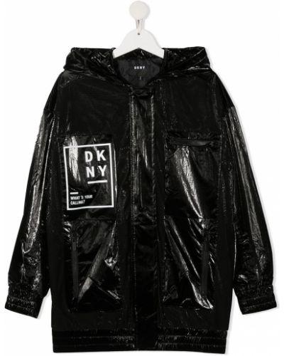 Czarny płaszcz przeciwdeszczowy z długimi rękawami z printem Dkny Kids