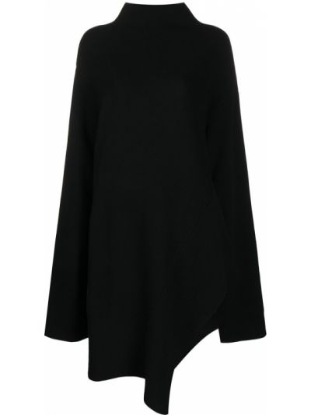 Черное асимметричное вязаное платье макси с длинными рукавами Oyuna