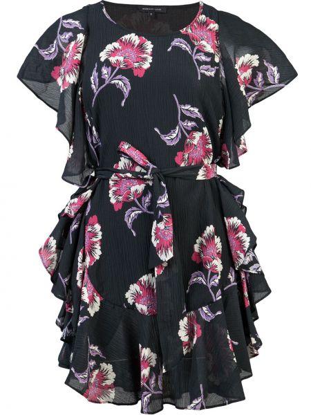 Платье мини с цветочным принтом с поясом Morgan Lane
