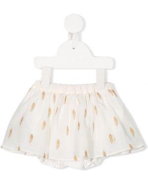 Biała spódnica bawełniana z haftem Baby Dior