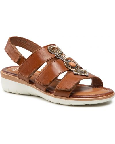 Sandały skórzane - brązowe Ara