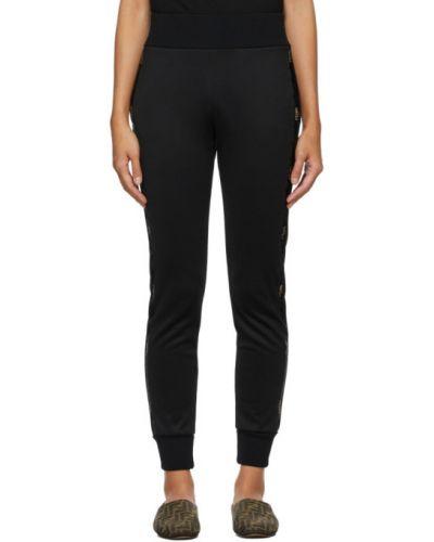 Трикотажные черные брюки дудочки с карманами Fendi