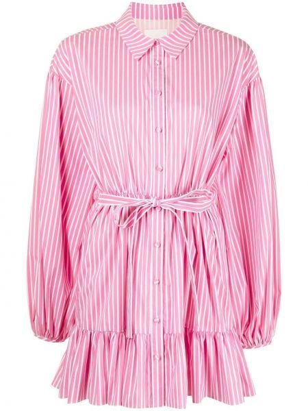 Розовое платье макси в полоску с воротником Cinq À Sept
