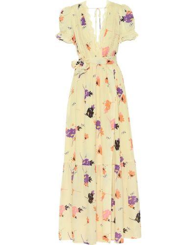 Платье макси с цветочным принтом теплое Self-portrait