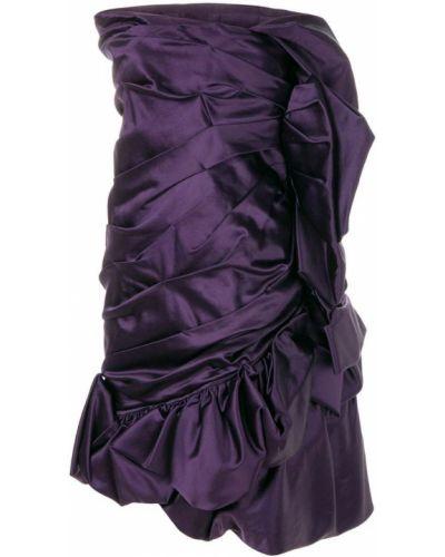 Фиолетовое приталенное драповое платье винтажное Christian Lacroix Pre-owned