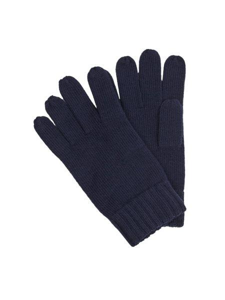 Prążkowane niebieskie rękawiczki wełniane Polo Ralph Lauren