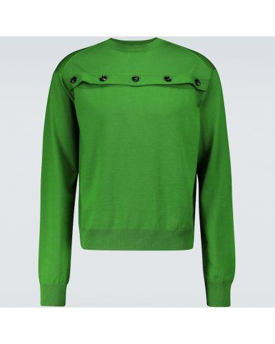 Zielony sweter wełniany zapinane na guziki Bottega Veneta