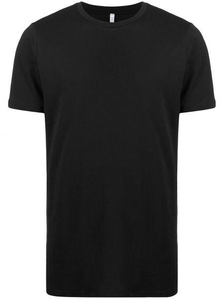 С рукавами хлопковая черная футболка с круглым вырезом Cenere Gb