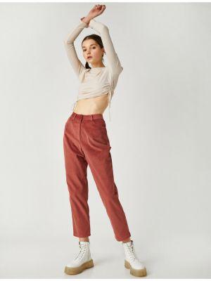 Mom jeans sztruksowe - bordowe Koton