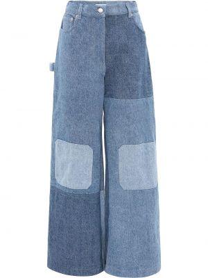 Синие широкие джинсы с высокой посадкой пэчворк Jw Anderson
