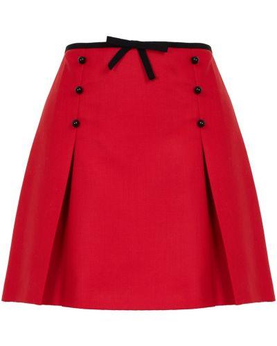 Шерстяная красная юбка мини на пуговицах с поясом Miu Miu
