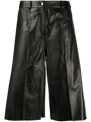 Черные кожаные шорты с карманами Drome