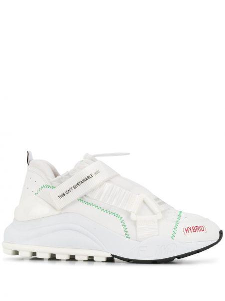 Białe sneakersy na platformie skorzane F_wd
