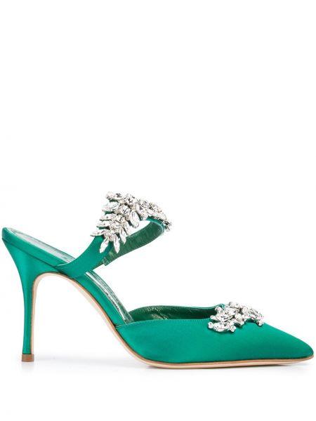 Зеленые туфли на каблуке Manolo Blahnik
