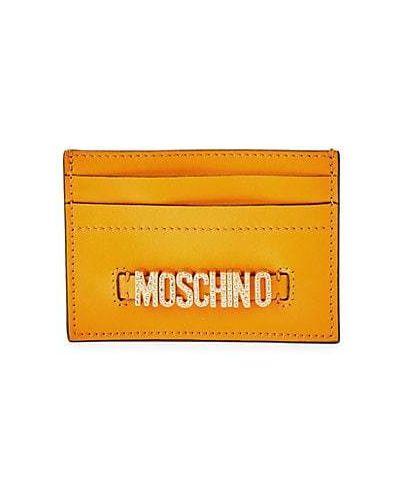 Оранжевая кожаная ключница с подкладкой Moschino