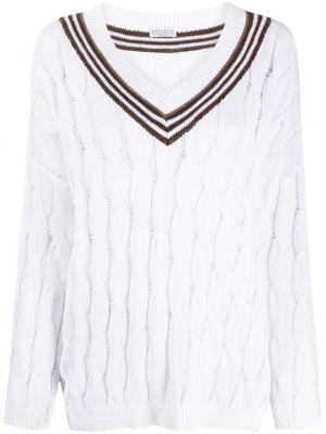 Белый кашемировый длинный свитер в полоску Brunello Cucinelli