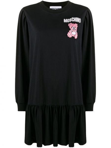 Прямое с рукавами черное платье мини Moschino
