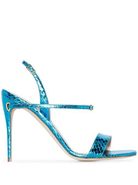 Кожаные бирюзовые сандалии Jennifer Chamandi