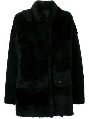 Черное пальто из овчины с воротником Liska