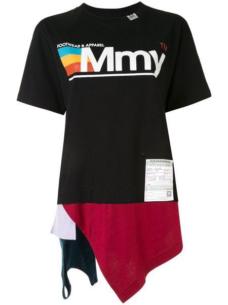 Асимметричная черная футболка с нашивками с круглым вырезом Maison Mihara Yasuhiro