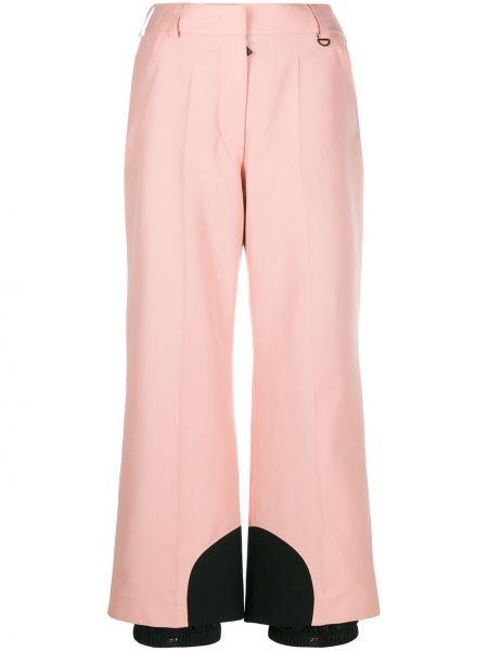 Розовые свободные брюки с нашивками свободного кроя на крючках Moncler