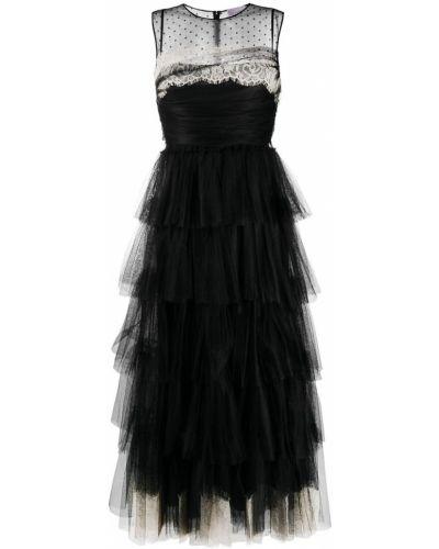 Черное вечернее платье из фатина без рукавов Red Valentino