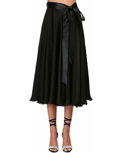 Сатиновая юбка миди - черная Alexandre Vauthier