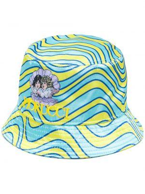 Żółta czapka z haftem Fiorucci