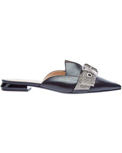 Кожаные черные мюли на каблуке с декоративной отделкой Ermanno Scervino