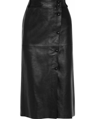 Кожаная юбка миди - черная Iris & Ink