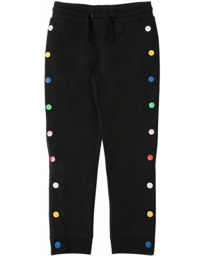 Хлопковые спортивные брюки - черные Stella Mccartney Kids