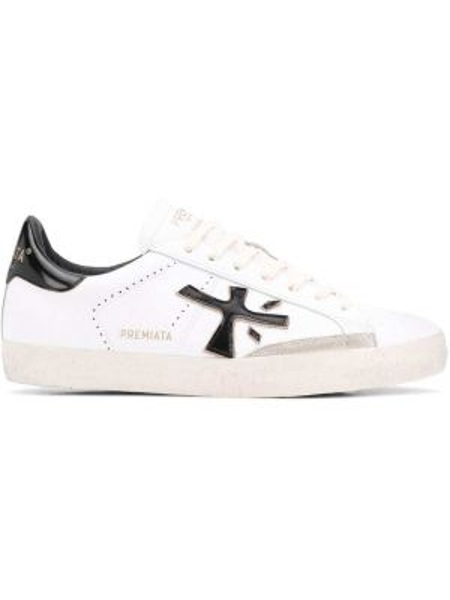 Белые кожаные кроссовки с заплатками на шнуровке Premiata