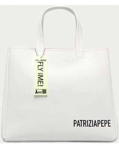 Biała torebka duża skórzana z printem Patrizia Pepe
