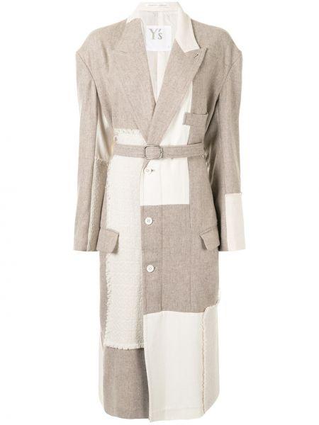 Вязаное бежевое шерстяное длинное пальто Y`s