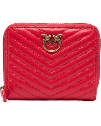 Стеганый красный кожаный кошелек для монет Pinko