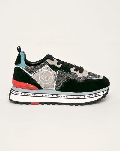 Кроссовки на платформе замшевые черные Liu Jo