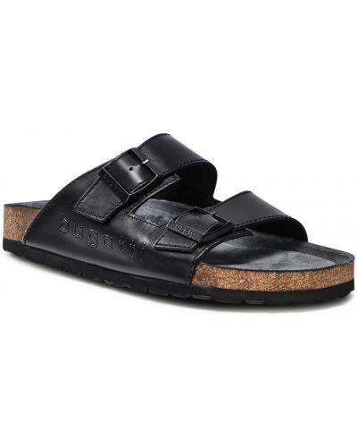 Sandały skórzane - czarne Bugatti