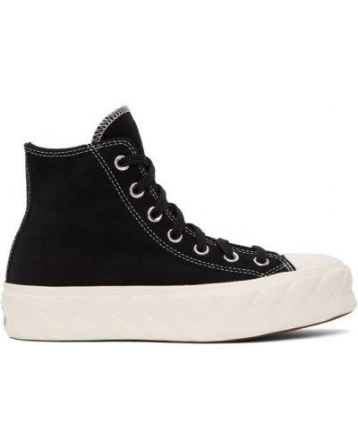 Черные высокие кроссовки на шнуровке на каблуке с заплатками Converse
