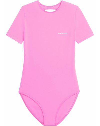 Różowy strój kąpielowy krótki rękaw z printem Balenciaga