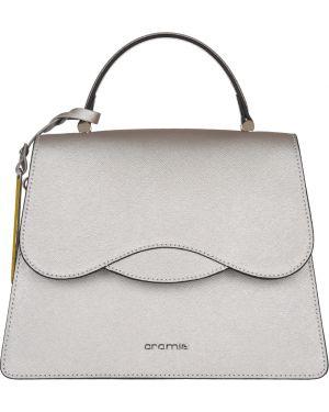 Кожаная сумка - серебряная Cromia