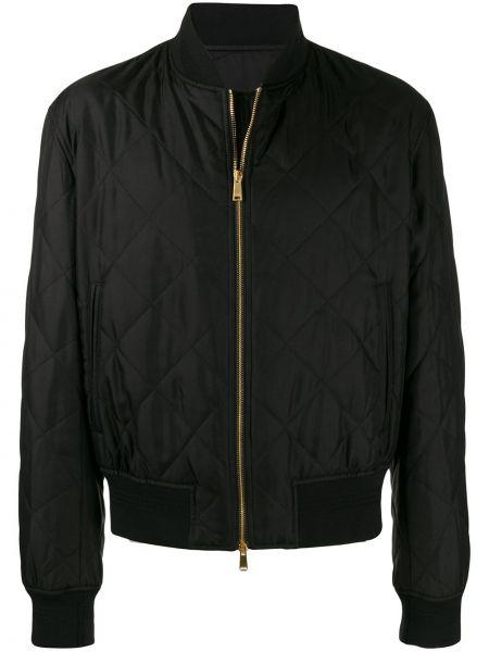Długa kurtka pikowana czarna Versace