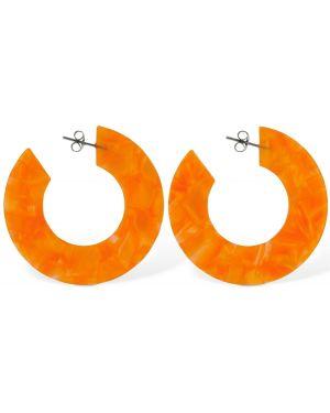 Pomarańczowe kolczyki sztyfty srebrne oversize Aym