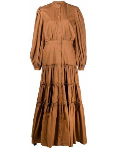 Brązowa sukienka długa z długimi rękawami bawełniana Wandering
