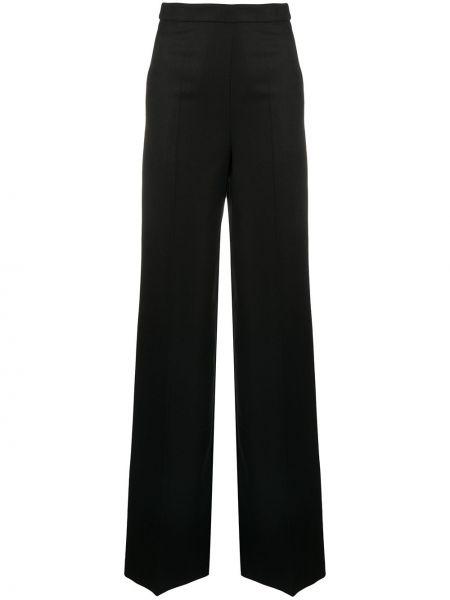 Шерстяные черные свободные брюки свободного кроя с высокой посадкой Giambattista Valli