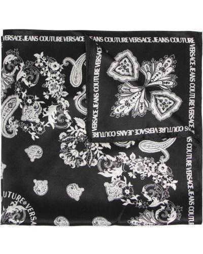 Czarna bandana z printem z jedwabiu Versace Jeans Couture