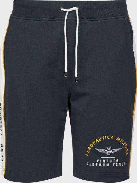 Хлопковые черные шорты Aeronautica Militare