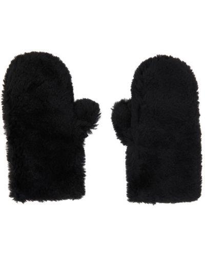 Wełniany czarny rękawiczki prążkowany Yves Salomon