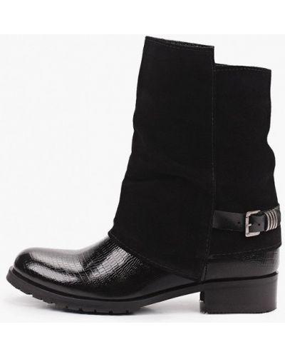 Черные лаковые кожаные полусапожки Enzo Logana